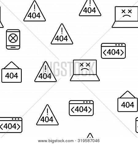 404 Http Error Message Vector Seamless Pattern Contour Illustration
