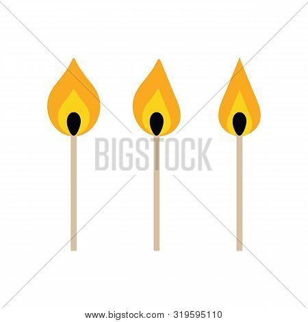 Set, Collection Of Vector Igniting Matches Isolated On White Background.