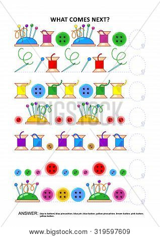 Sewing Themed Educational Logic Game Training Sequential Pattern Recognition Skills: What Comes Next