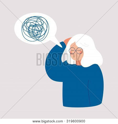 Woman Has Depression With Bewildered Thoughts In Her Mind. Loss Of Short-term Memory, Difficulty Con