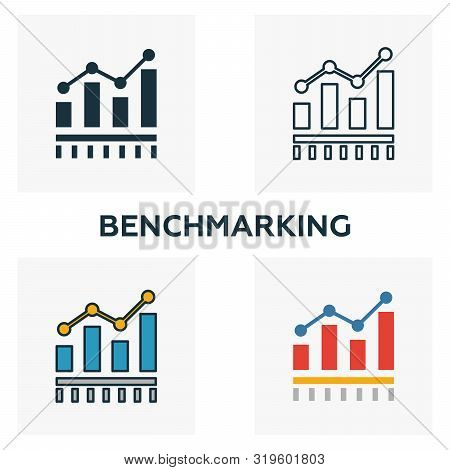 Benchmarking Icon Set. Four Elements In Diferent Styles From Business Management Icons Collection. C