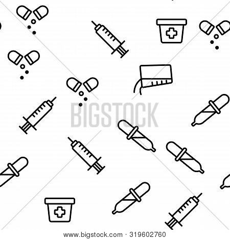 Dosage, Dosing Drugs Vector Seamless Pattern Illustration