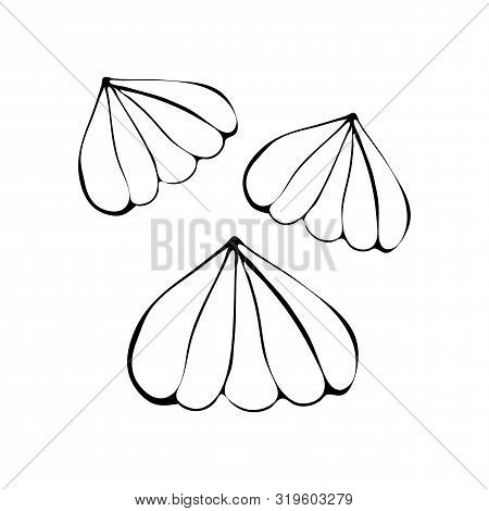 Beautiful Vector Illustration Of Marshmallow And Souffle Drawn Line On White Isolated Background. De