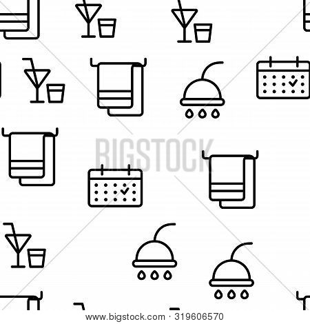 Hotel Accommodation, Room Amenities Vector Seamless Pattern Thin Line Illustration