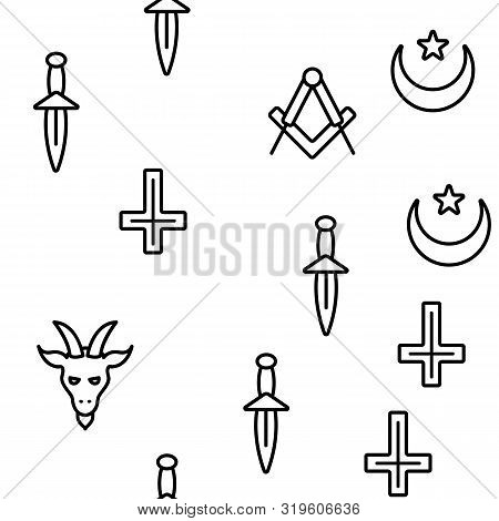 Occult, Demonic Entity Imagery Vector Seamless Pattern Line Illustration