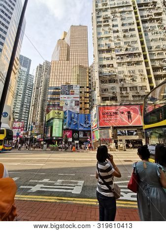 Hongkong-august 22,2019:causeway Bay Of Hongkong In A Day Time.