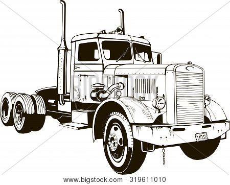 Retro Truck Classic Diesel Vehicle Cargo Isolated Semi Trailer Truck 18 Wheeler Tractor Big Rig Lorr