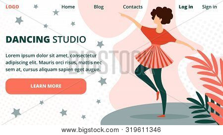 Dancing Studio Horizontal Banner With Young Woman Dancing In City Park Outdoors, Girl Performing Or
