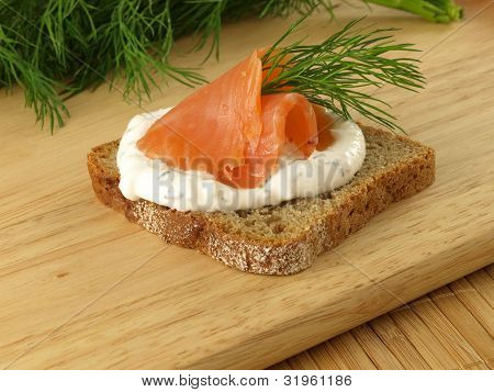 Light sandwich with salmon and cottage cheese poster