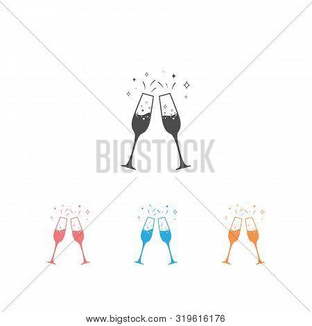 Champagne Glass Icon Set Background. Vector Illustration