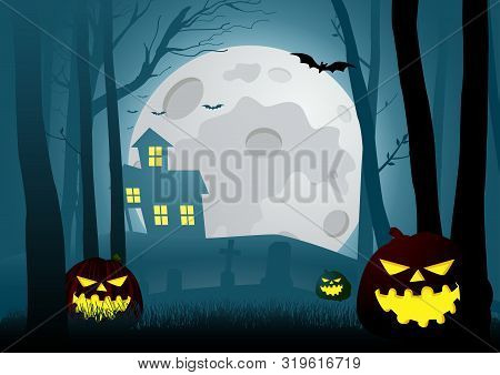 Silhouette Illustration Of A House In The Dark Scary Woods With Halloween Pumpkins Decoration, For H
