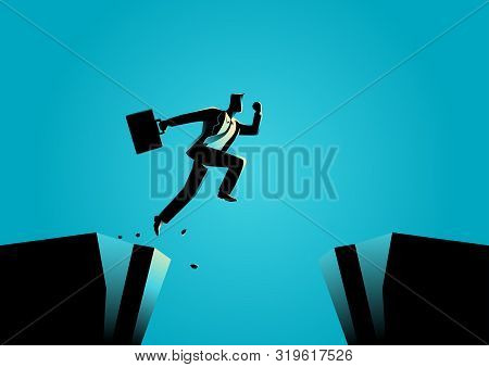 Silhouette Illustration Of A Businessman Jumps Over The Ravine. Challenge, Obstacle, Optimism, Deter