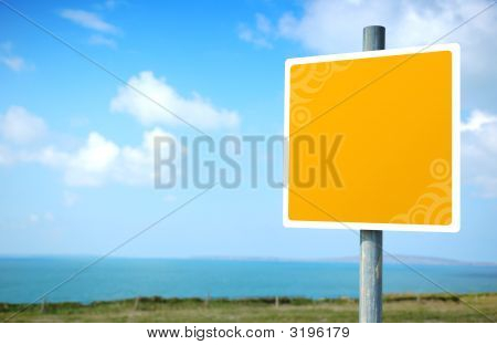 Empty Yellow Embellished Road Sign