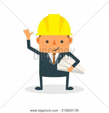 Construction Worker, Engineer Or Architect Holding Projects Blueprints Cartoon Character. Engineer W
