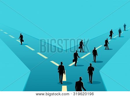Business Concept Illustration Of A Businessman Choose Different Way From Other Businessmen