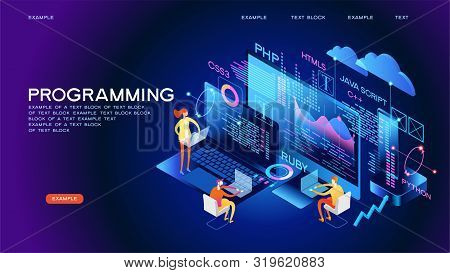 Programming Web Banner. Best Programming Languages. Technology Process Of Software Development