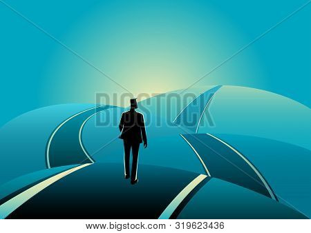 Business Concept Illustration Of A Businessman Standing On The Asphalt Road Over The Hills