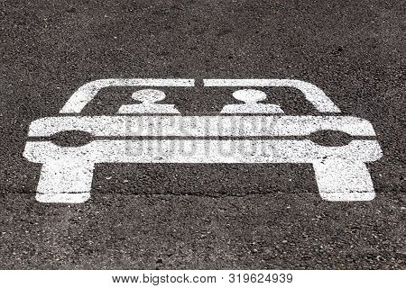 Carpooling Point Sign On Asphalt In France