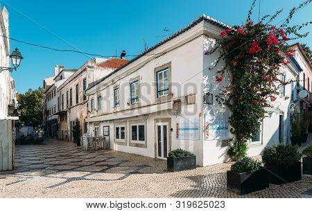 Empty Street Corner In The Historic Centre Of Cascais, Portugal