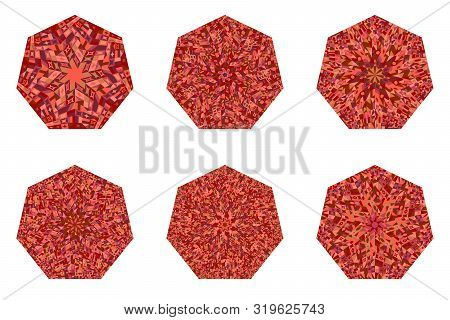 Isolated Tiled Mosaic Heptagon Shape Collection - Geometrical Vector Designs Elementss On Background
