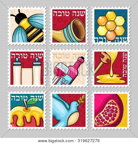 Rosh Hashanah Stamp. Shana Tova. Happy And Sweet New Year In Hebrew