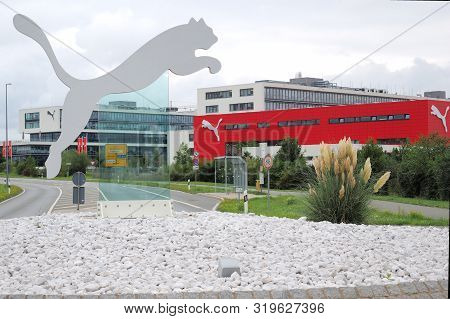 Herzogenaurach, Germany - August 19, 2019:  Puma Logo And Headquarter Of Global Sports Brand Puma In