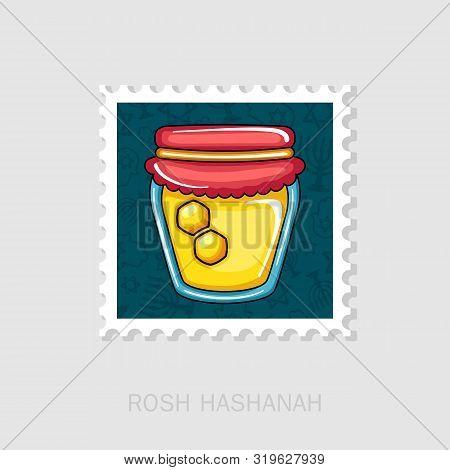 Jar Of Honey. Rosh Hashanah Stamp. Shana Tova. Happy And Sweet New Year In Hebrew