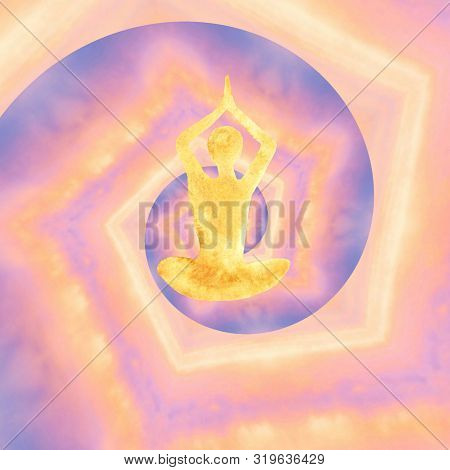 Watercolor Silhouette Of A Man In Lotus Position On A Abstract Kaleidoscope Trend Background Bright