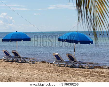 Blue loungers and umbrella at Hicks Beach along S. Roosevelt Boulevard, Key West, Florida. poster