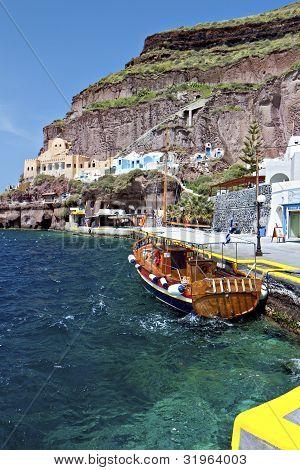 Old port of Fira city at Santorini island