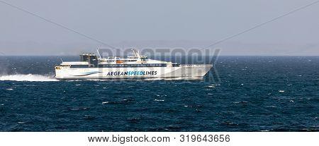 Aegean Sea, Greece - August 25, 2019: Speedrunner Iii In Aegean Sea On August 25, 2019. Hsc Speedrun
