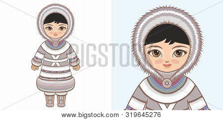 Eskimo Chukchi Girl In National Costume. Design