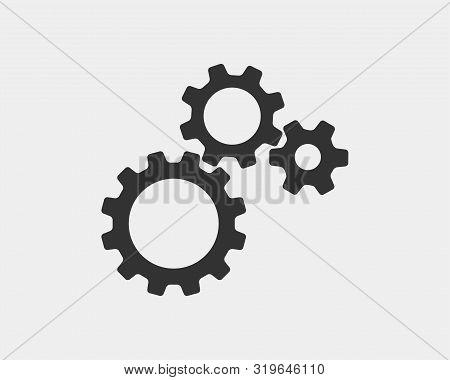 Metal Gears And Cogs Vector. Gear Icon Flat Design. Mechanism Wheels Logo. Cogwheel Concept Template