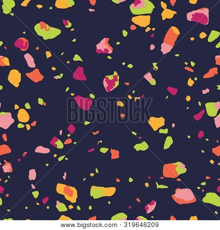 Terrazzo Seamless Pattern. Colorful Vector Texture Of Mosaic Floor Consisting Of Recycled Glass Spli