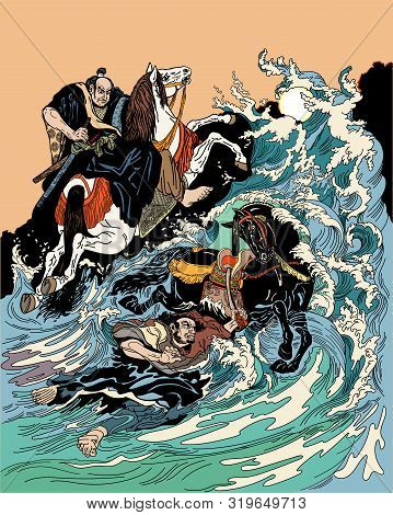 Two Samurai Horsemen Crossing A Stormy Sea. One Warrior With A Black Horse Swimming In Water, Anothe