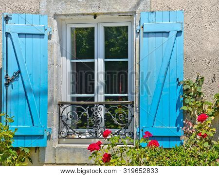 Sunny View In Front Of A Blue Window With Shutters Of An Old Farm House, With A Bush Of Red Roses An