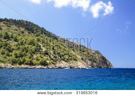 Kefalonia Island. The Ruins Of A Fortress On The Peninsula Of Assos. Greece