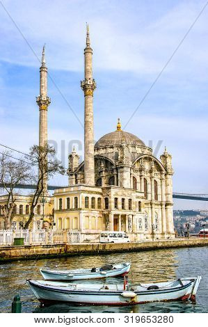 Ortakoy Mosque On The Shore Of The Bosphorus. Istanbul. Turkey