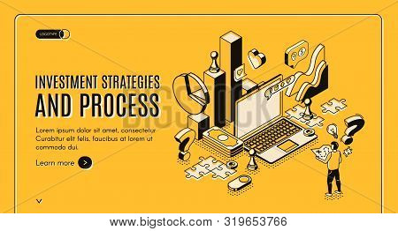 Investment Strategies And Process Isometric Web Banner. Businessman Stand At Huge Laptop With Busine