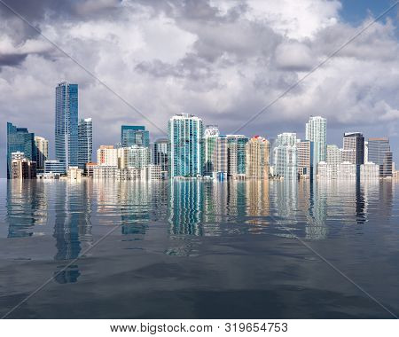 Miami Florida Cityscape Skyline With Concept Of Sea Level Rise And Major Flooding From Warming Or Hu