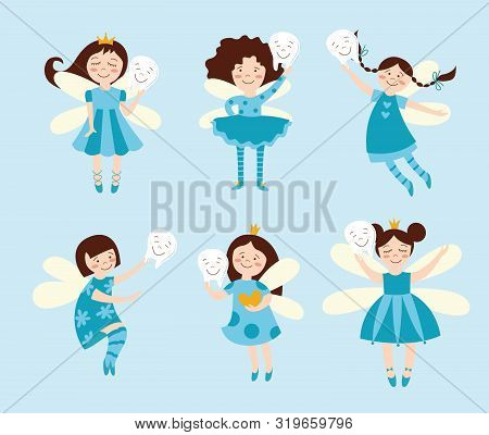 Set of fairies or elves girls cartoon flat vector illustration in blue isolated. poster