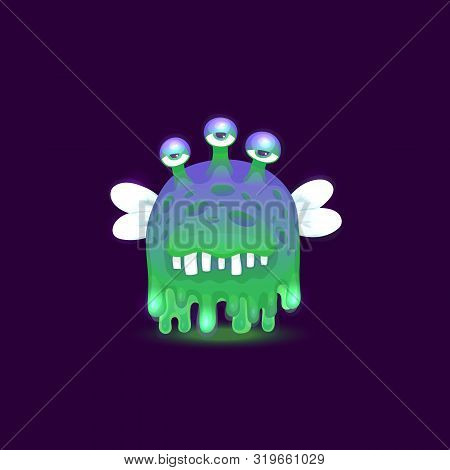 Gross Cartoon Alien Monster With Dripping Slime Skin With Three Bored Eyes And Glowing Green And Pur