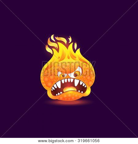 Orange Fire Monster With Angry Face And Open Mouth Full Of Teeth. Cartoon Flame Creature With Burnin