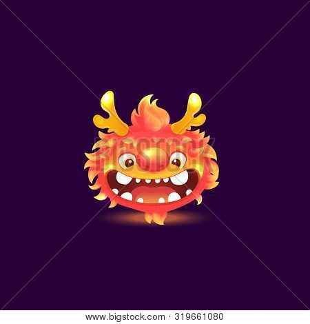 Cartoon Flame Monster With Goofy Smile And Deer Antlers