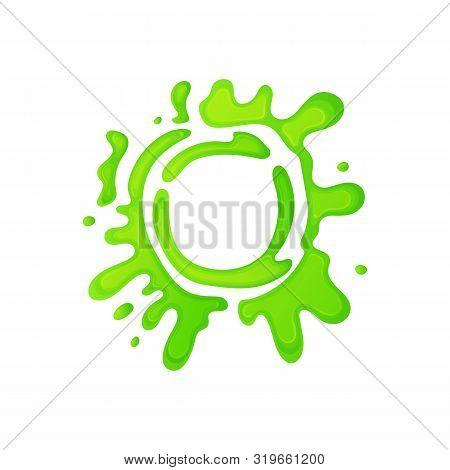 Cartoon Green Slime Circle With Gross Mucus Splatter