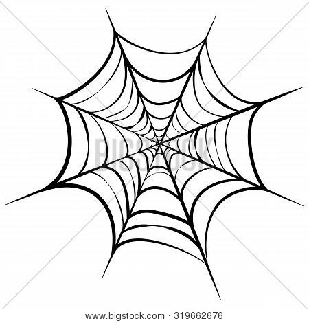 Vector Illustration Of Black Cobweb Isolated On White Background. Line Art Of Spider Web For Hallowe