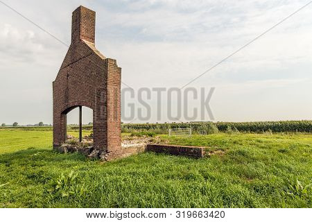Masonry Brick Facade Of The Demolished Polder Pumping Station In The Overdiepse Polder. The Station