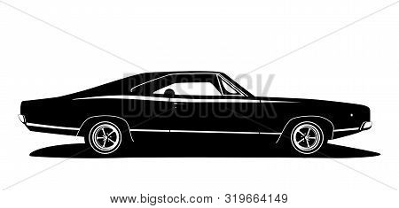 Vector American Muscle Car Profile. Classic Vehicle Graphics Design. Hot Rod Silhouette Black And Wh