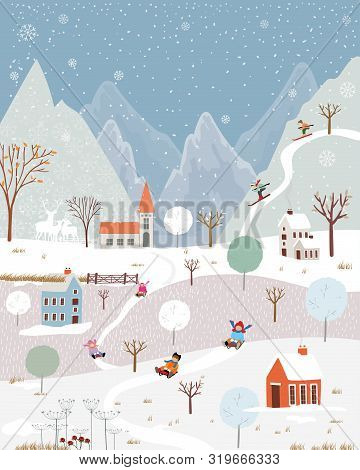 Illustrator Winter Landscape,vector Of Horizontal Banner Of Winter Wonderland At Countryside With Sn