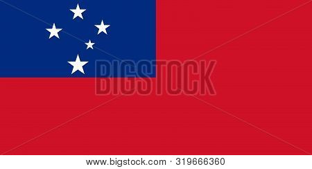 Flag Of Samoa Vector Illustration, Worlds Flags Collection